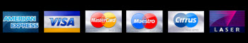 We are pleased to accept these major cards: American Express,VISA, MasterCard,Maestro,Cirrus,Laser