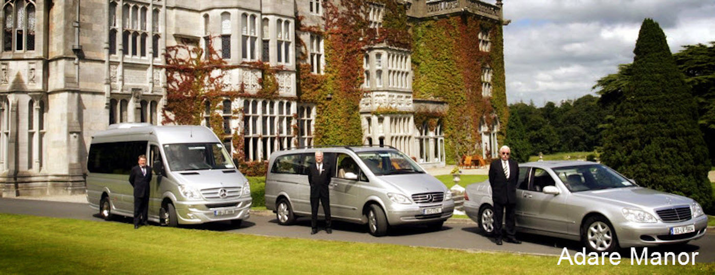 The Luxury Fleet of Rental Cars from Executive Tours Ireland outside the iconic Adare Manor