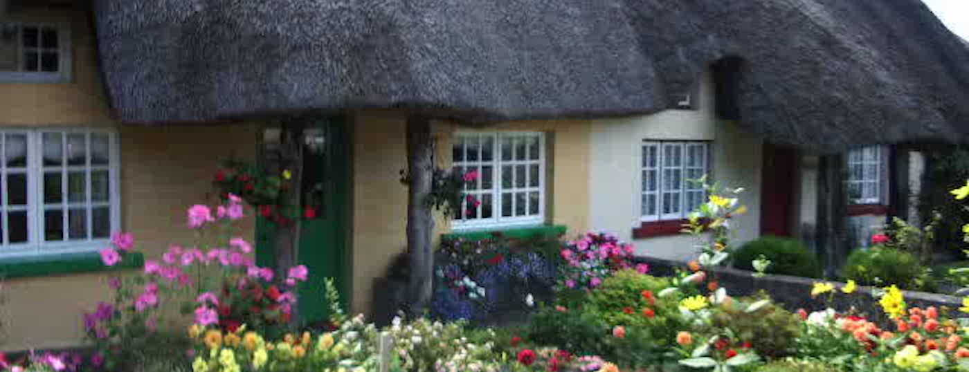 The Quaint Thatched Cottages of Adare Village are popular with Tourists on an Executive Hire Tour