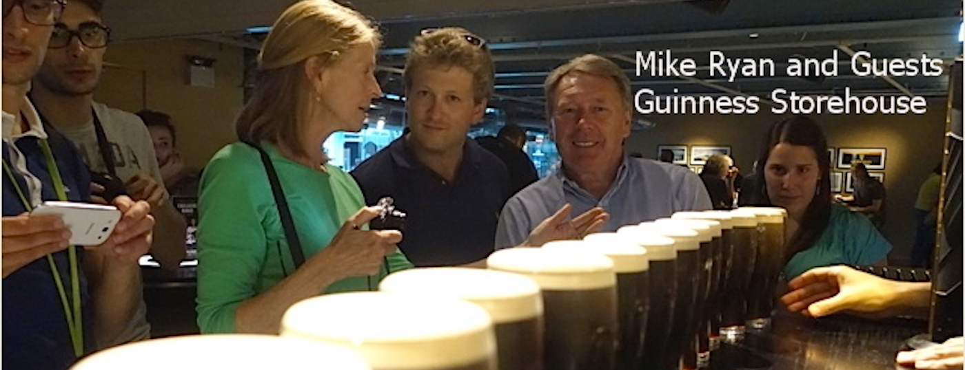 Mike Ryan with his guests on a tour of the Guinness Storehouse | Chauffeur Tours Ireland