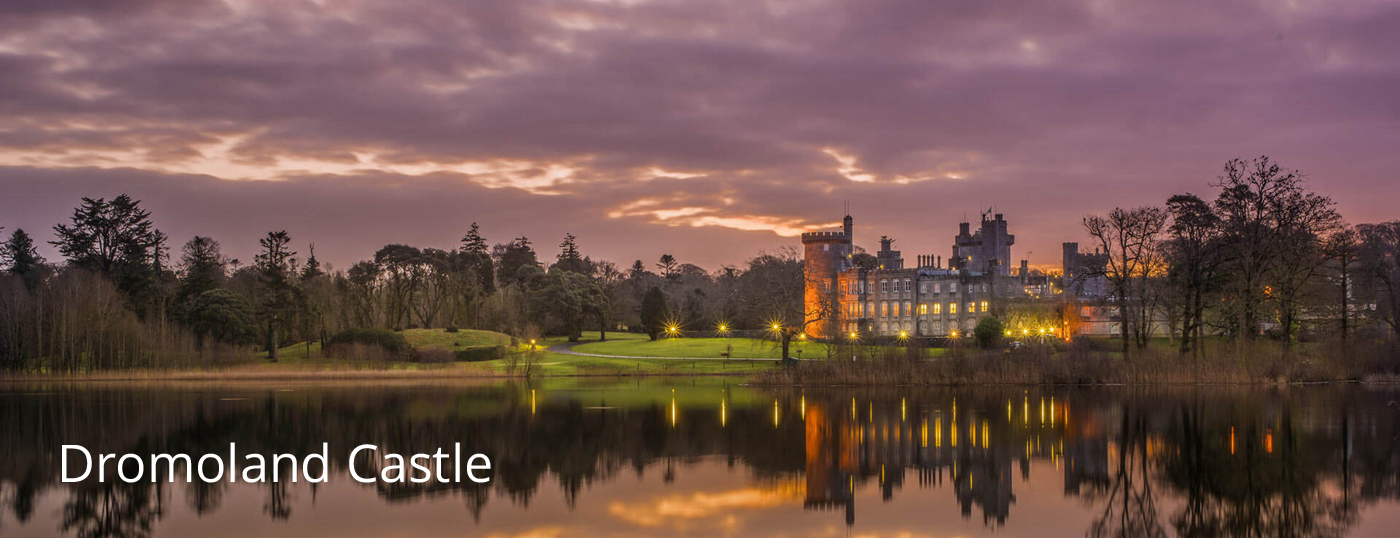 A view of Dromoland Castle Luxury Accommodation in the evening time