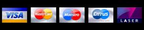 We also accept: VISA, MasterCard,Maestro,Cirrus,Laser