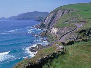 Dingle Peninsula road at cliffs edge