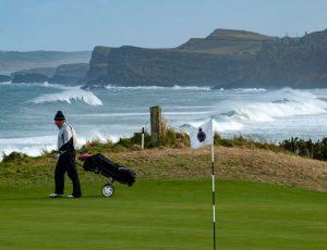 A golfer on Portrush